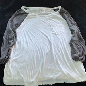 Grey and white baseball tee by Divided!